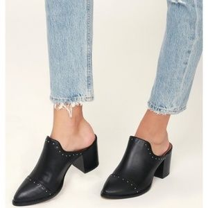 Black Heeled Mules by Report